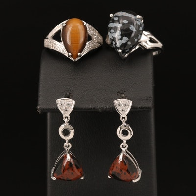 Sterling Rings and Earrings Including Topaz, Snowflake and Mahogany Obsidian