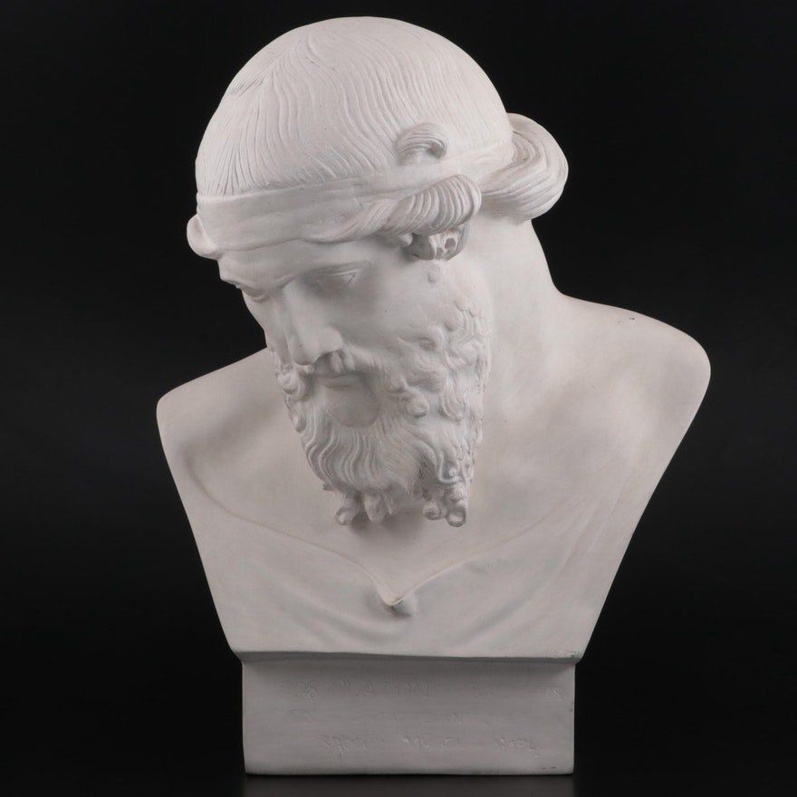 Plaster Bust of Plato After Bronze from the Villa dei Papyri, Herculaneum