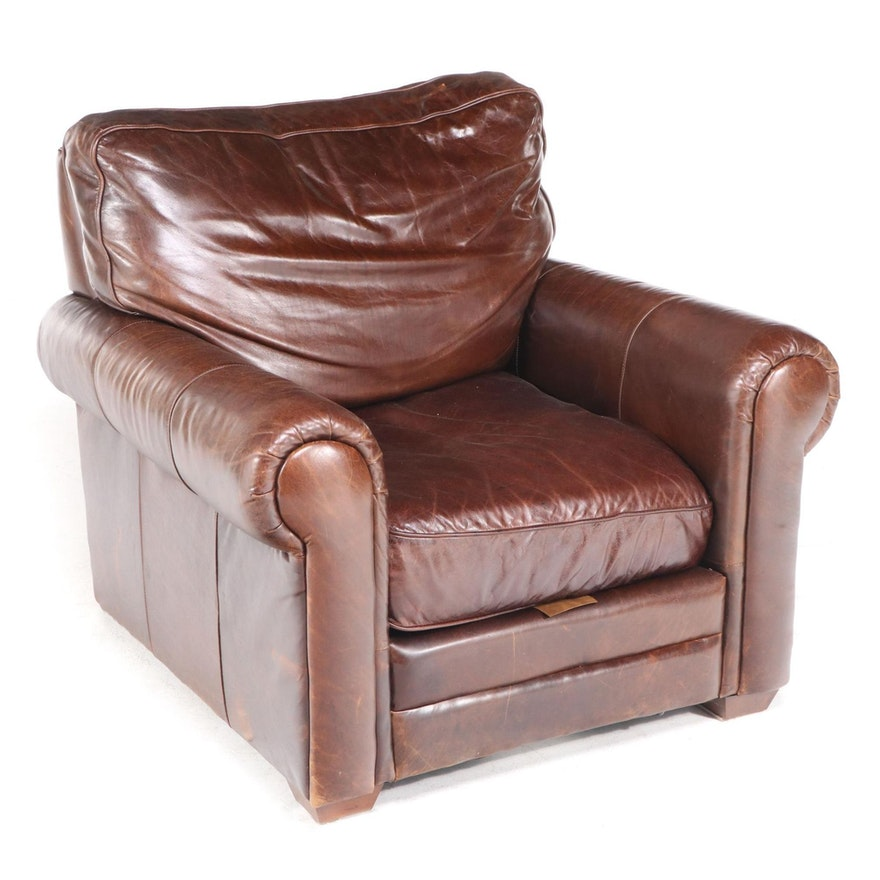 Spectra Home Brown Leather Overstuffed Club Chair