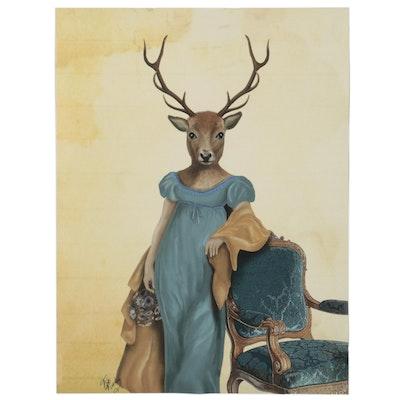"Giclée of Anthropomorphic ""Deer in Blue Dress,"" 21st Century"