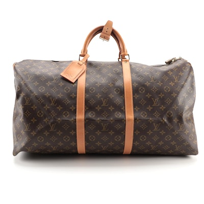 Louis Vuitton Keepall 60 Bag in Monogram Canvas and Vachetta Leather