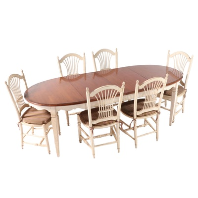 French Provincial Style Painted Wood and Cherry Seven-Piece Dining Set