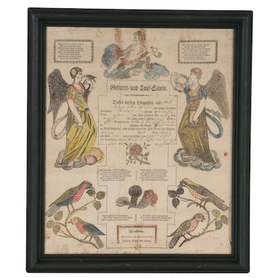 German Hand-Colored Lithograph Birth Certificate Announcement, 1833