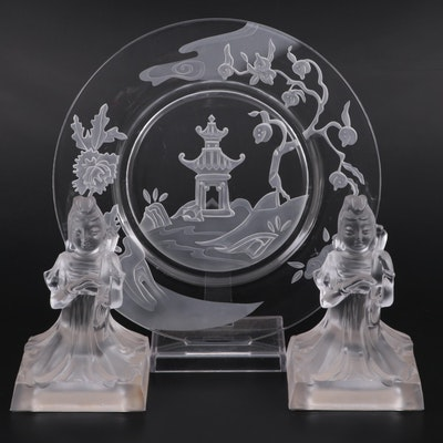 Virginia B. Evans for Imperial Glass Cathay Crystal Tray and Bookends
