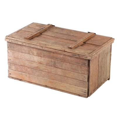 Slatted Oak Hinged-Lid Crate, Late 19th/Early 20th Century