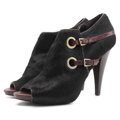 Saks Fifth Avenue Fable Open-Toe High-Heeled Boots in Black Calf Hair