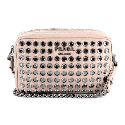 Prada Embellished Blush Leather Shoulder Bag