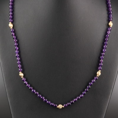 14K Amethyst Bead Necklace