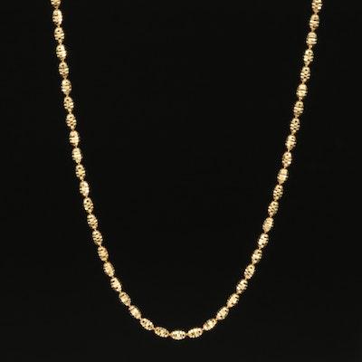 14K Textured Bead Chain