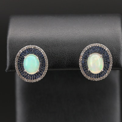Sterling Opal, Topaz and Sapphire Earrings