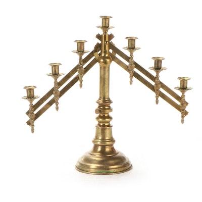 Brass Adjustable Church Altar Candelabra, 20th Century