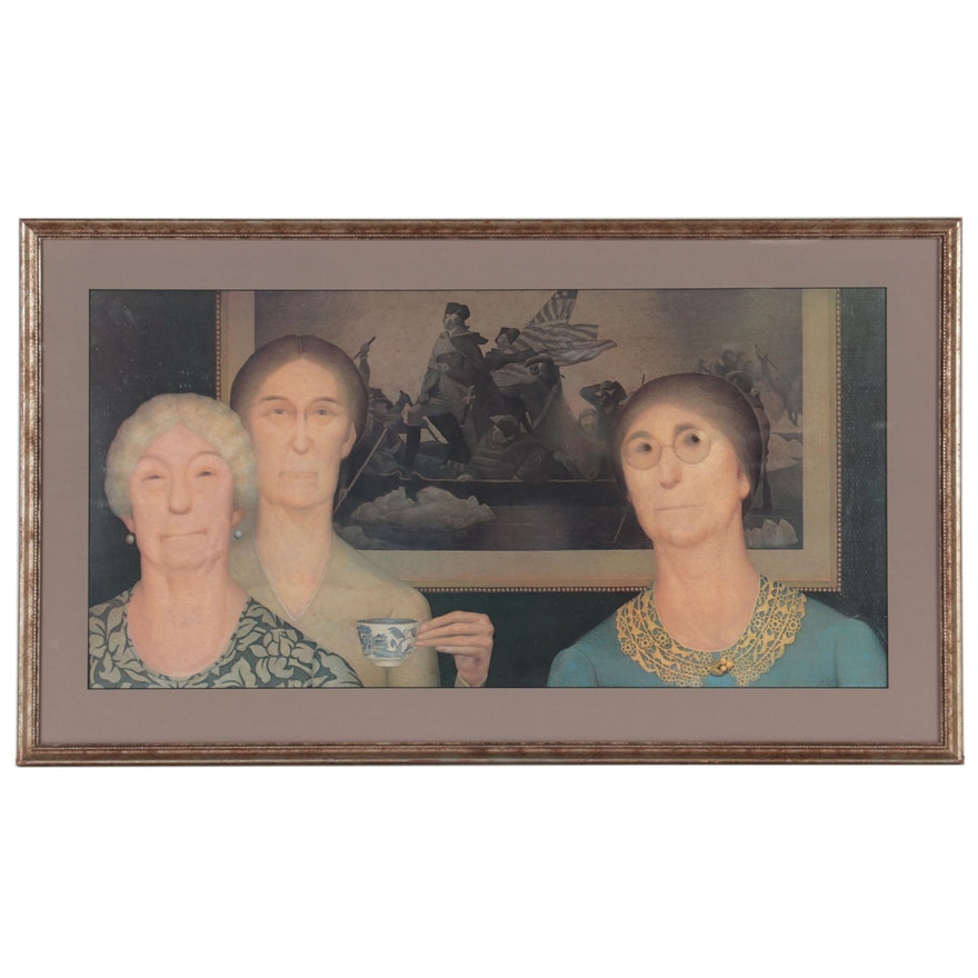 """Offset Lithograph After Grant Wood """"Daughters of Revolution"""""""