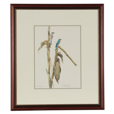 W. Stanley Proctor Offset Lithograph of Bluebirds, Late 20th Century
