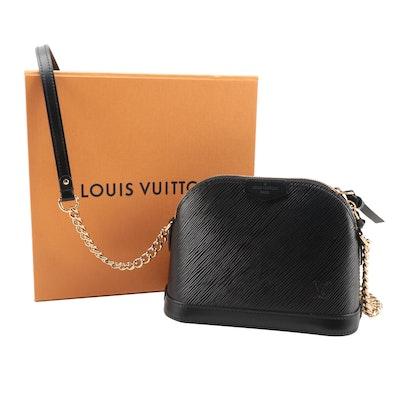 Louis Vuitton Mini Alma Chain Bag in Black Epi and Smooth Leather