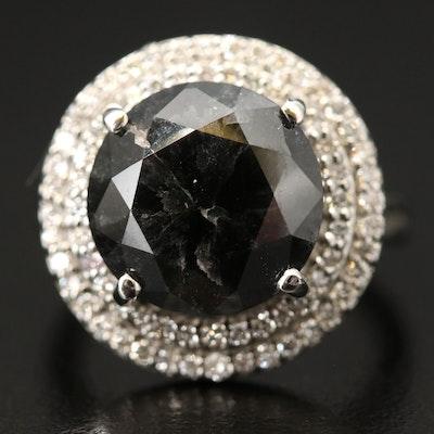 Platinum 9.82 CTW Diamond Double Halo Ring with GIA Report
