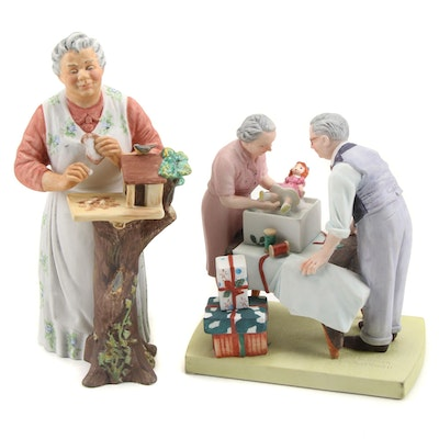 """Royal Doulton """"Good Morning"""" and Norman Rockwell """"Wrapping Presents"""" Figurines"""