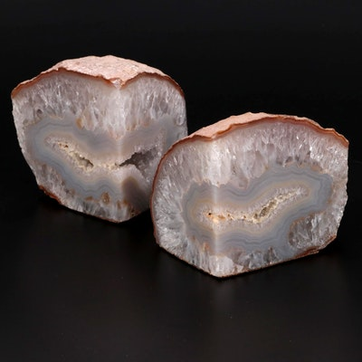 Agate with Quartz Geode Bookends