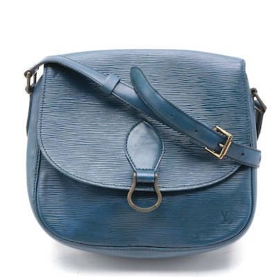 Louis Vuitton Saint Cloud Saddle Bag in Toledo Blue Epi and Smooth Leather