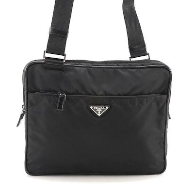 Prada Shoulder Bag in Black Nylon with Saffiano Leather Trim