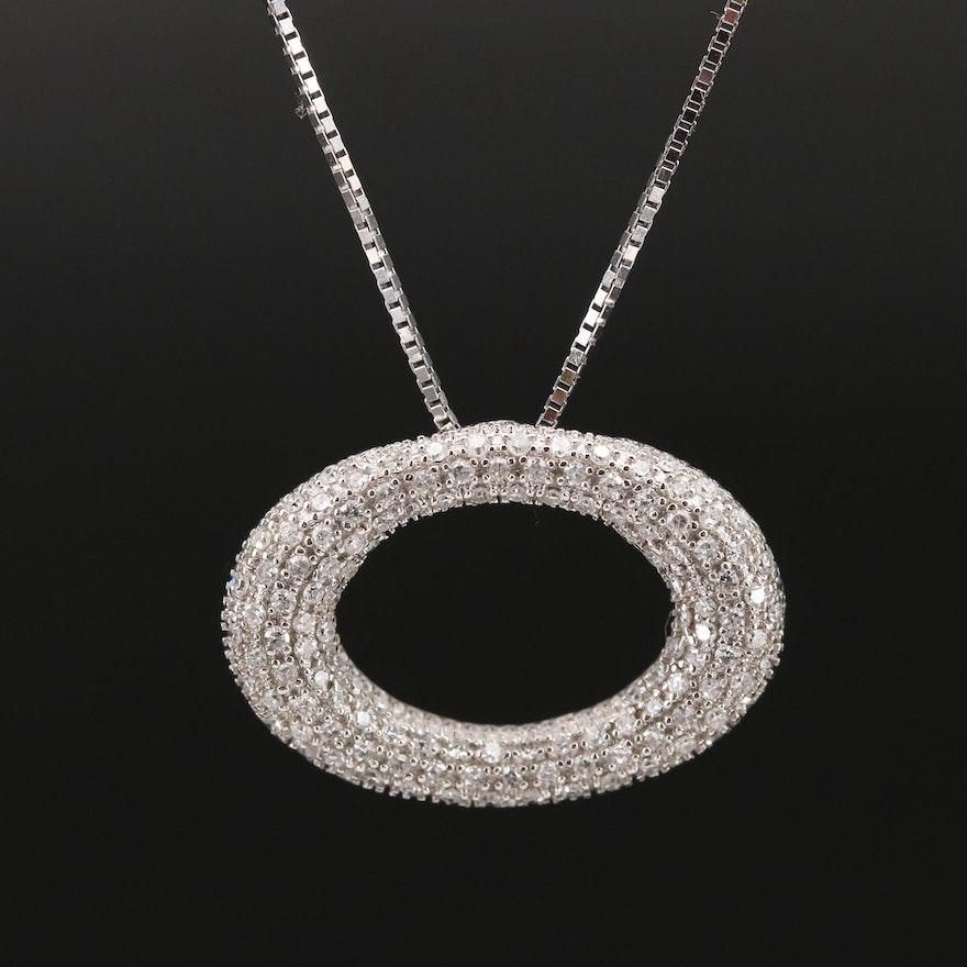 14K Pavé Diamond Circle Pendant Necklace