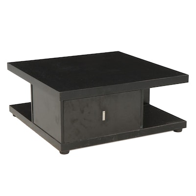 Contemporary Ebonized Two-Drawer Storage Coffee Table