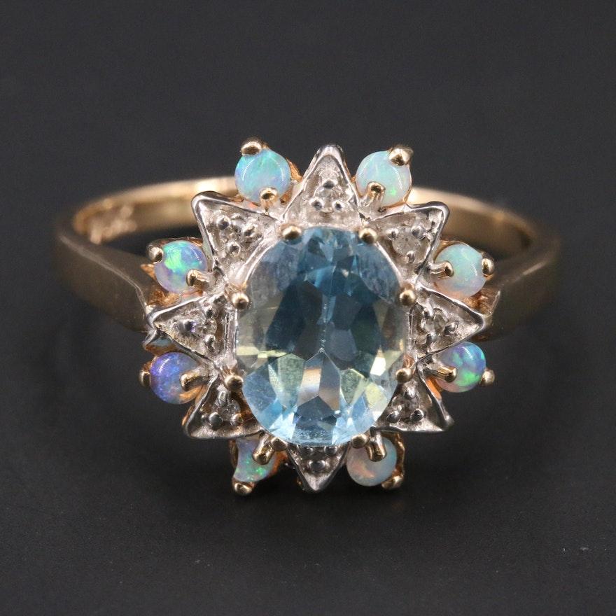 10K Topaz, Opal and Diamond Ring