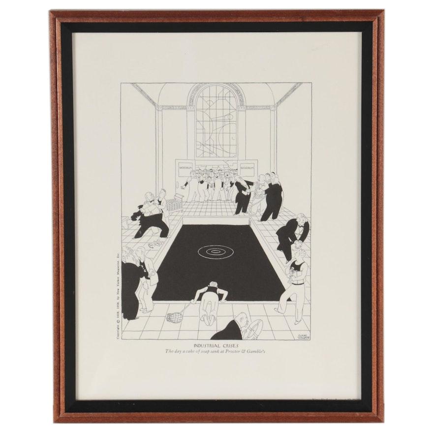 """Lithograph After Gluyas Williams """"Industrial Crisis,"""" 21st Century"""