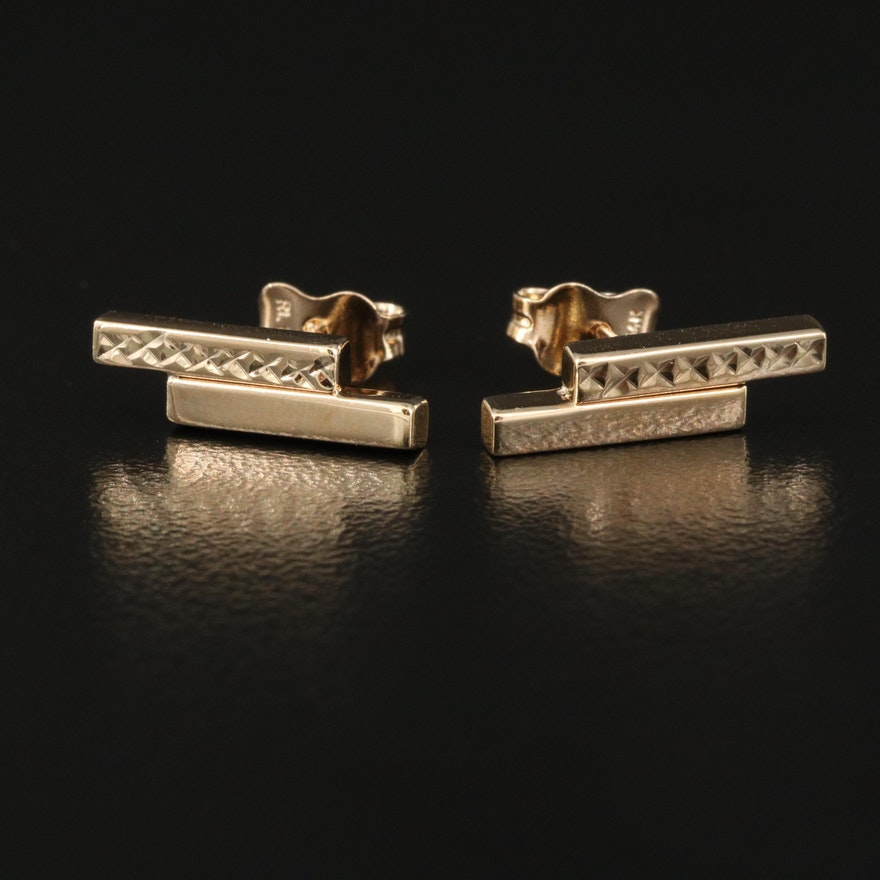 14K Double Bar Stud Earrings