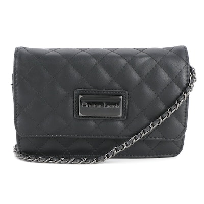 Christian Lacroix Black Quilted Vegan Leather Crossbody
