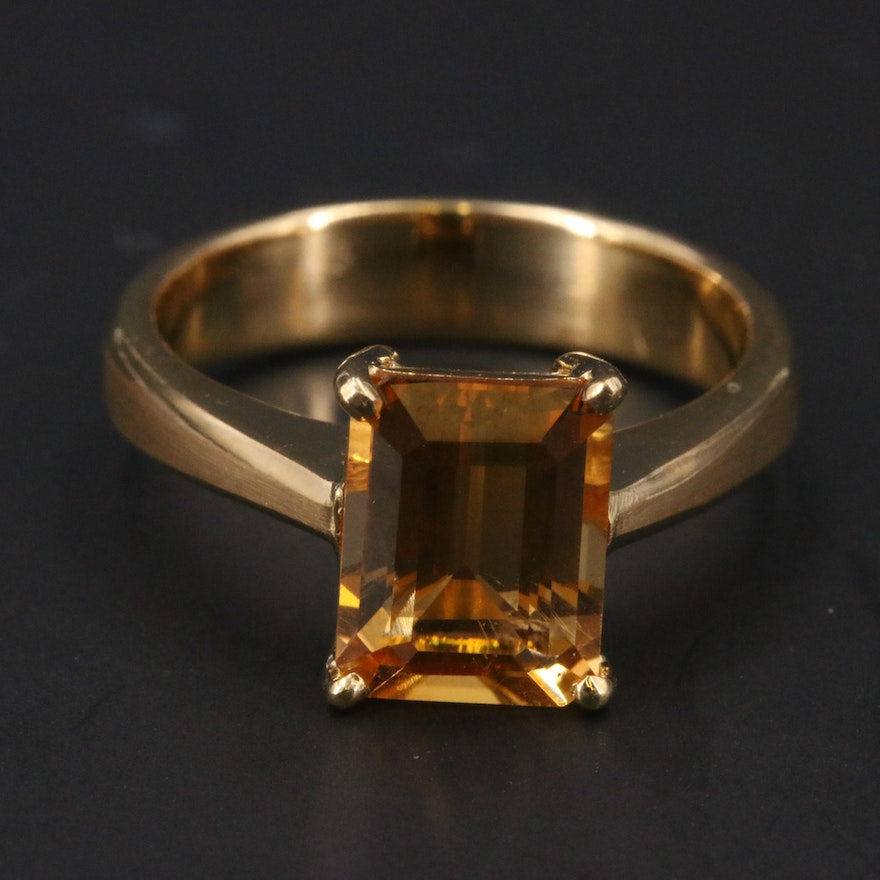 14K Citrine Solitaire Ring with Matte Finish Accents