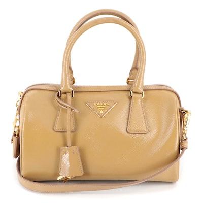 Prada Tan Patent Saffiano Leather Two-Way Boston Bag
