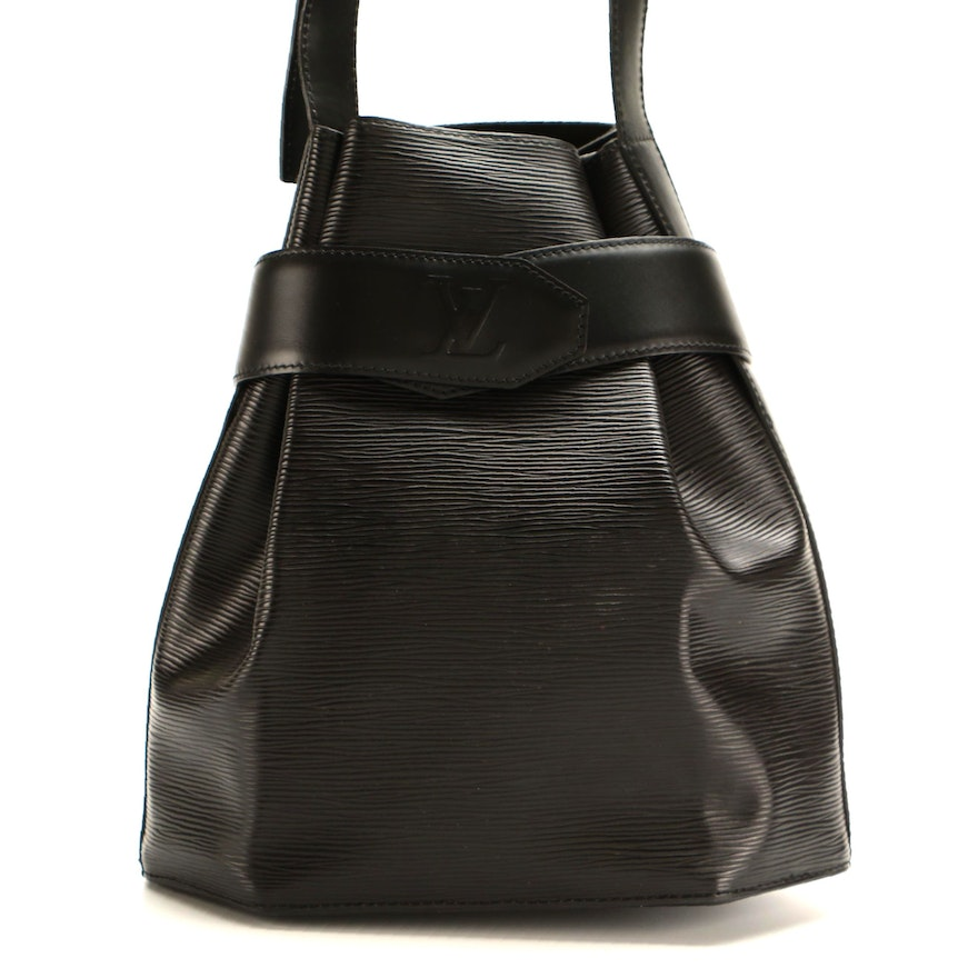 Louis Vuitton Sac D'Epaule PM Bag in Black Epi and Smooth Leather