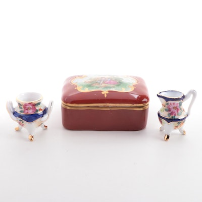 Hand-Painted Porcelain Limoges Lidded Box with Miniature Sugar and Creamer