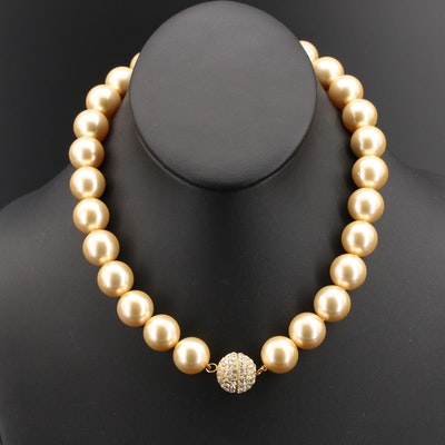Faux Pearl Strand Necklace with Sterling Rhinestone Clasp