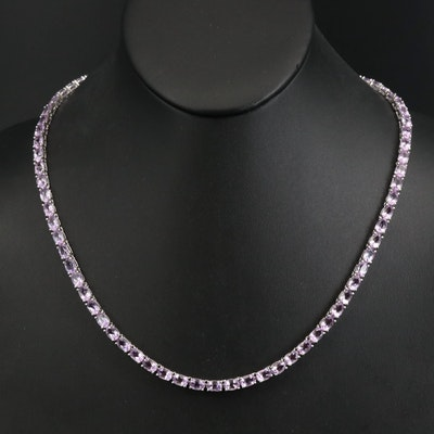 Sterling Amethyst Line Necklace