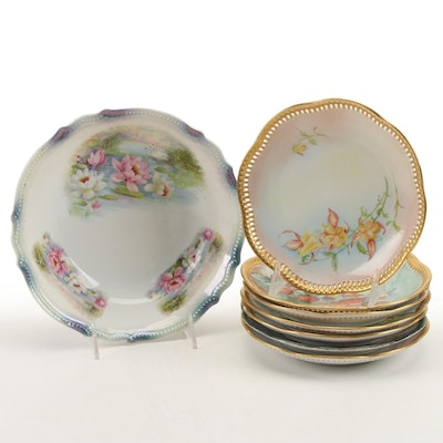P.K. Silesia Bowl with Other German Hobbyist Hand-Painted Porcelain Plates