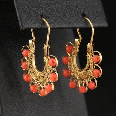 Vintage 10K Glass Bead Filigree Hoop Earrings