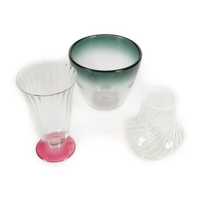 "Bengt Orup for Johansfors ""Tona"" Art Glass Vase with Other Handblown Vases"