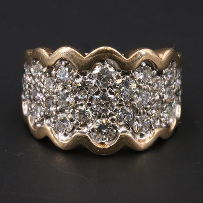 14K Two-Tone 1.47 CTW Diamond Cluster Band with Scalloped Edge