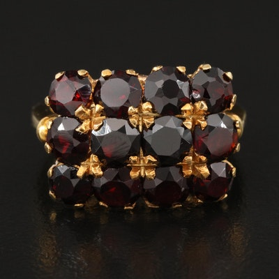 Vintage 18K Garnet Triple Row Rectangular Ring