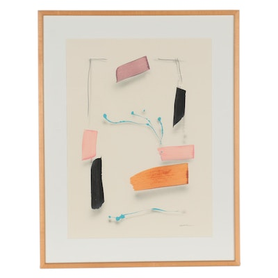 Gregory Kavalec Abstract Mixed Media Painting, Late 20th Century
