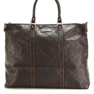 Gucci Joy Zip Tote in Brown Guccissima Leather