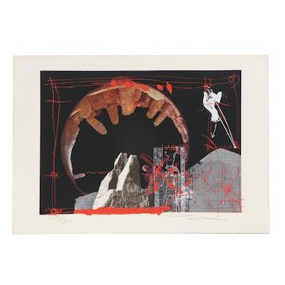 Igael Tumarkin Abstract Mixed Media Print, Mid-20th Century
