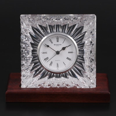 Waterford Crystal Giftware Square Desk Clock on Wood Base, Contemporary