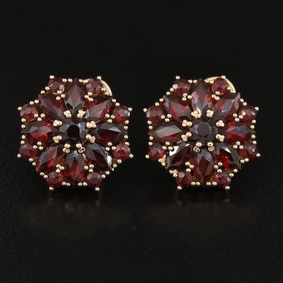 14K Garnet Star Cluster Earrings
