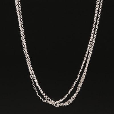 14K Triple Strand Rolo Chain Necklace