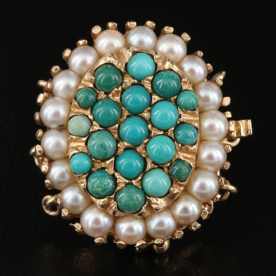 14K Turquoise and Pearl Oval Clasp