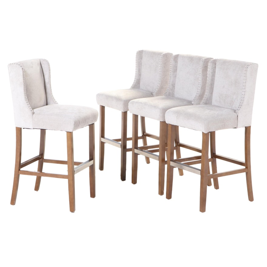 Four Pacific Coast Lighting Chrome-Tacked and Upholstered Wingback Bar Stools