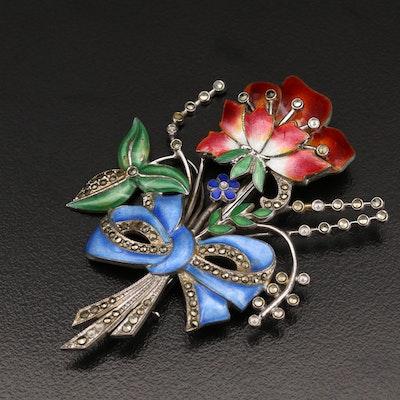 Circa 1940s Sterling Flower Brooch