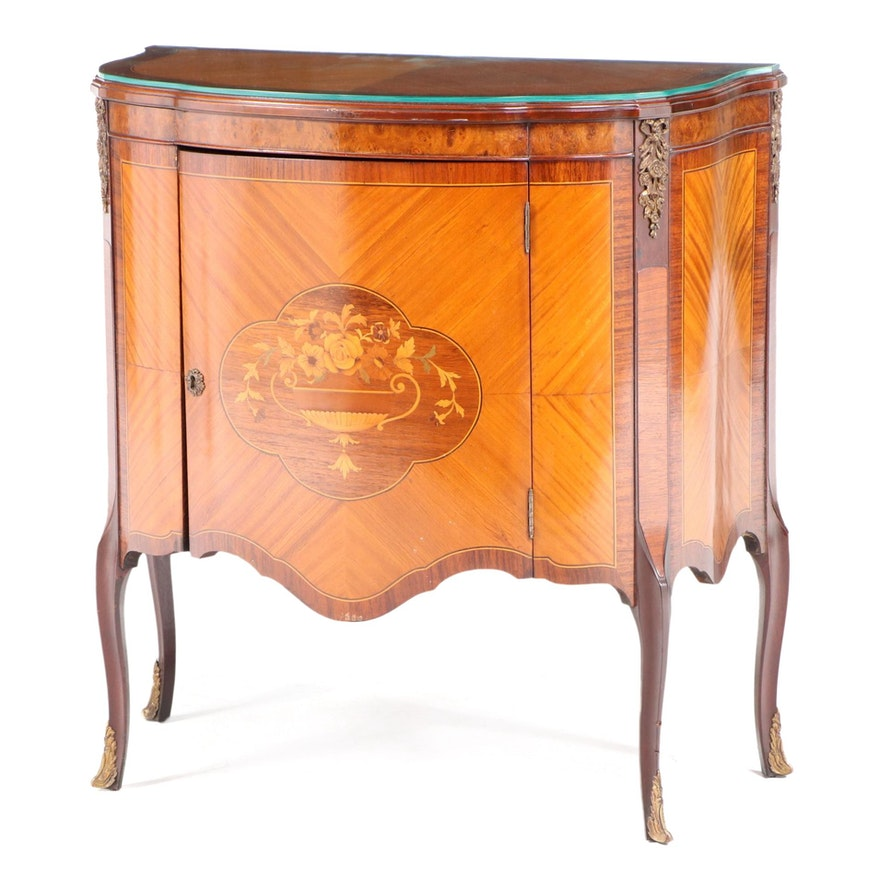 Louis XV Style Gilt Metal-Mounted Marquetry Side Cabinet, Early 20th Century